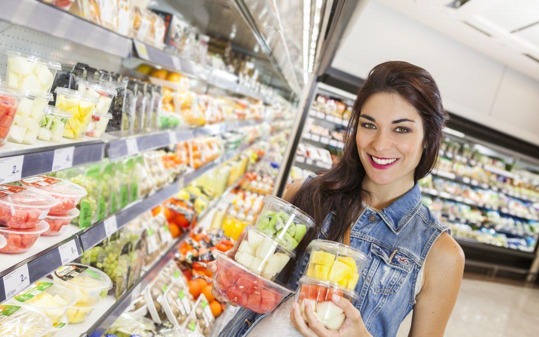 Fruta cortada fresca supermercado